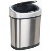 "Nine Stars DZT-42-9 Infrared Touchless Waste Receptacle - 11.1 Gallon Capacity - 16 1/5"" L x 11 2/5"" W x 24"" H - Stainless Steel with Black Top"