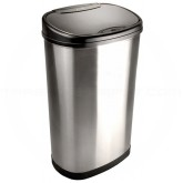 """Nine Stars DZT-50-13 Infrared Touchless Waste Receptacle - 13.2 Gallon Capacity - 16 1/2"""" L x 11 1/2"""" W x 27"""" H - Stainless Steel with Black Accents"""