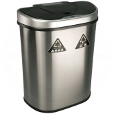 "Nine Stars DZT-70-11R Infrared Touchless Recycling Waste Receptacle - 18.5 Gallon Capacity - 23 1/5"" L x 14 4/5"" W x 28 3/8"" H - Stainless Steel with Black Top"