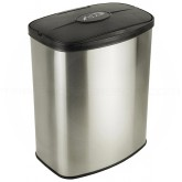 "Nine Stars DZT-8-1 Infrared Touchless Waste Receptacle - 2.1 Gallon Capacity - 11 3/10"" L x 7 1/5"" W x 13 3/8"" H - Stainless Steel with Black Top"