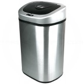 "Nine Stars DZT-80-4 Infrared Touchless Waste Receptacle - 21.1 Gallon Capacity - 18 1/3"" L x 14 4/5"" W x 28 3/8"" H - Stainless Steel with Black Top"