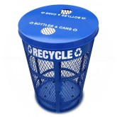 "Witt Industries EXP-52NPBL-FTR Expanded Metal Recycling Receptacle - 23"" Dia. x 33"" H - 45 Gallon Capacity - Blue in Color"