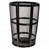 "Witt Industries EXP-52-BK Powder Coated Steel Mesh Street Basket - 48 U.S Gallon - 23"" Dia. x 33"" H - Black in Color"