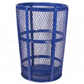 "Witt Industries EXP-52BL Powder Coated Steel Mesh Street Basket - 48 U.S Gallon - 23"" Dia. x 33"" H - Blue in Color"