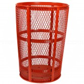 "Witt Industries EXP-52RD Powder Coated Steel Mesh Street Basket - 48 U.S Gallon - 23"" Dia. x 33"" H - Red in Color"