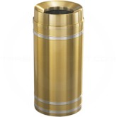 "Glaro F1234BE Capri WasteMaster Funnel Top Trash Can - 12 Gallon Capacity - 12"" Dia. x 32"" H - Satin Brass with Satin Aluminum Bands"