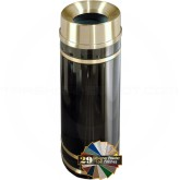 "Glaro F1255 Monte Carlo WasteMaster Funnel Top Waste Container - 12 Gallon Capacity - 12"" Dia. x 32"" H - Satin Brass Accents"