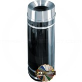 "Glaro F1256 Monte Carlo WasteMaster Funnel Top Waste Can - 12 Gallon Capacity - 12"" Dia. x 32"" H - Satin Aluminum Accents"