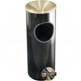 "Glaro F141 Mount Everest Ash/Trash Receptacle with Funnel Top - 3 Gallon Capacity - 9"" Dia. x 23"" H - Satin Brass Cover"