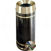 "Glaro F1555 Monte Carlo WasteMaster Funnel Top Garbage Can - 16 Gallon Capacity - 15"" Dia. x 34"" H - Satin Brass Accents"