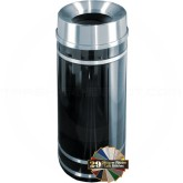 "Glaro F1556 Monte Carlo WasteMaster Funnel Top Trash Can - 16 Gallon Capacity - 15"" Dia. x 34"" H - Satin Aluminum Accents"
