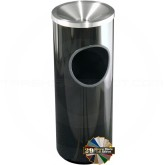"Glaro F192 Mount Everest Ash/Trash Receptacle with Funnel Top - 3 Gallon Capacity - 9"" Dia. x 23"" H - Satin Aluminum Cover"