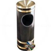 "Glaro F1955 Monte Carlo Ash/Trash Receptacle with Funnel Top - 3 Gallon Capacity - 9"" Dia. x 23"" H - Satin Brass Accents"