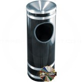 "Glaro F1956 Monte Carlo Ash/Trash Receptacle with Funnel Top - 3 Gallon Capacity - 9"" Dia. x 23"" H - Satin Aluminum Accents"