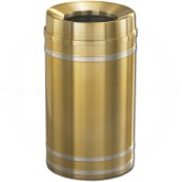 "Glaro F2034BE Capri WasteMaster Funnel Top Trash Can - 33 Gallon Capacity - 20"" Dia. x 36"" H - Satin Brass with Satin Aluminum Bands"