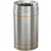 "Glaro F2034SA Capri WasteMaster Funnel Top Trash Can - 33 Gallon Capacity - 20"" Dia. x 36"" H - Satin Aluminum with Satin Brass Bands"
