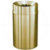 "Glaro F2035BE Atlantis WasteMaster Funnel Top Waste Container - 33 Gallon Capacity - 20"" Dia. x 35"" H - All-Weather Satin Brass"