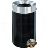 "Glaro F2035 Mount Everest Funnel Top Trash Container - 33 Gallon Capacity - 20"" Dia. x 35"" H - Satin Aluminum Cover"
