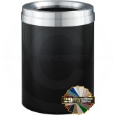 "Glaro F2037BKSA Value Funnel Top Garbage Can  - 41 Gallon Capacity - 20"" Dia. x 31"" H - Satin Black with Satin Aluminum Top"