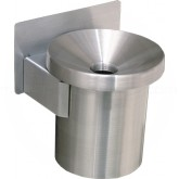 "Glaro F203 Funnel Top Wall Mounted Cigarette Receptacle - 4 1/2"" Dia. x 6"" H - Satin Aluminum Only"