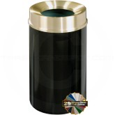 "Glaro F2041 Mount Everest Funnel Top Garbage Container - 33 Gallon Capacity - 20"" Dia. x 35"" H - Satin Brass Cover"