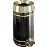 "Glaro F2055 Monte Carlo WasteMaster Funnel Top Waste Receptacle - 33 Gallon Capacity - 20"" Dia. x 36"" H - Satin Brass Accents"