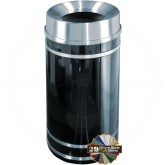 "Glaro F2056 Monte Carlo WasteMaster Funnel Top Waste Bin - 33 Gallon Capacity - 20"" Dia. x 36"" H - Satin Aluminum Accents"