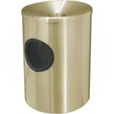 "Glaro F812BE Funnel Top Wall Mounted Ash/Trash Cigarette Receptacle - 8"" Dia. x 12"" H - Satin Brass in Color"