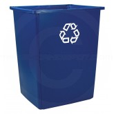 "Rubbermaid FG256B73BLUE Glutton Recycling Container - 56 Gallon Capacity - 25 1/2"" L x 22 3/4"" W x 31 1/8"" H - Recycle Blue in Color"
