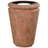 "Rubbermaid / United Receptacle FG993047 Milan Collection Tuscan Fiberglass Sand-Top Ash Urn - 18"" Dia. x 24"" H - Weathered Terra-Cotta in color"