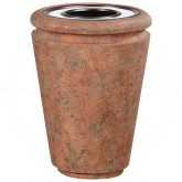 "Rubbermaid / United Receptacle FG993053 Milan Collection Tuscan Fiberglass Ash/Trash Receptacle - 33 Gallon Capacity - 26 1/2"" Dia. x 36 1/4"" H - Weathered Terra-Cotta in color"
