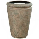 "Rubbermaid / United Receptacle FGFGK1824SUBISQ Milan Collection Tuscan Fiberglass Sand-Top Ash Urn - 18"" Dia. x 24"" H - Bisque in color"