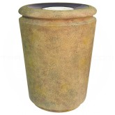 "Rubbermaid / United Receptacle FGFGK1824SUSAH Milan Collection Tuscan Fiberglass Sand-Top Ash Urn - 18"" Dia. x 24"" H - Sahara in color"
