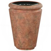 "Rubbermaid / United Receptacle FGFGK2736PLWTRC Milan Collection Tuscan Fiberglass Open Top Waste Receptacle - 33 Gallon Capacity - 26 1/2"" Dia. x 36 1/4"" H - Weathered Terra Cotta in color"