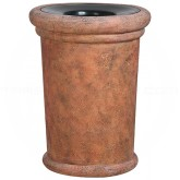 "Rubbermaid / United Receptacle FGFGK2836PLWTRC Milan Collection Portofino Fiberglass Open Top Waste Receptacle - 37 Gallon Capacity - 27 1/2"" Dia. x 36 1/4"" H - Weathered Terra-Cotta in color"