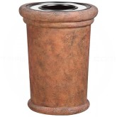 "Rubbermaid / United Receptacle FGFGK2836SUTPLWTR Milan Collection Portofino Fiberglass Ash/Trash Receptacle - 37 Gallon Capacity - 27 1/2"" Dia. x 36 1/4"" H - Weathered Terra-Cotta in color"