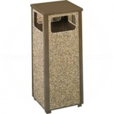 "Rubbermaid / United Receptacle R12 Aspen Series Waste Receptacle - 12 Gallon Capacity - 13 1/2"" Sq. x 32"" H - Desert Brown Thumbnail"