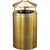 "Glaro H2002BE Atlantis All Weather WasteMaster Canopy Top Ash/Trash Receptacle - 33 Gallon Capacity - 20"" Dia. x 42"" H - All-Weather Satin Brass"