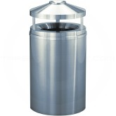 "Glaro H2002SA New Yorker WasteMaster Canopy Top Ash/Trash Receptacle - 33 Gallon Capacity - 20"" Dia. x 42"" H - Satin Aluminum"