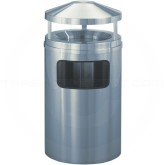 "Glaro H2003SA New Yorker Canopy Top Trash Can with Sand Urn - 17 Gallon Capacity - 20"" Dia. x 42"" H - Satin Aluminum"