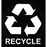 "Witt Industries LABEL55RWH ""RECYCLE"" Decal with Recycle Chasing Arrow Logo - 5 1/4"" L x 5 3/4"" H - White in color"
