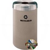 "Glaro M1542DSSA RecyclePro Single Unit Recycling Bin with Multi-Purpose Opening - 23 Gallon Capacity - 15"" Dia. x 30"" H - Desert Stone with Satin Aluminum Top"