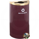 "Glaro M1899BY-SA RecyclePro Half Round Receptacle with Mixed Recycling Lid - 14 Gallon Capacity - 30"" H x 18"" W x 9"" D - Burgundy with Satin Brass Cover"