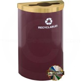 "Glaro M1899V RecyclePro Value Half Round Container  with Mixed Recycling Lid - 16 Gallon Capacity - 30"" H x 18"" W x 9"" D - Your choice of color"