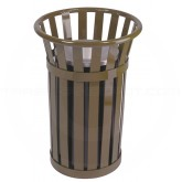 "Witt Industries M2000-BN Oakley Collection Outdoor Slatted Ash Urn - 17"" Dia. x 26"" H - Brown in Color"