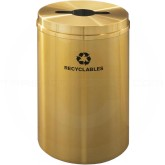 "Glaro M2032BE Recycle Pro 1 Receptacle with Multi-Purpose Opening - 33 Gallon Capacity - 20"" Dia. x 31"" H - Satin Brass"