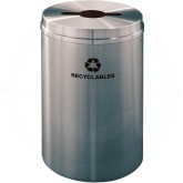 "Glaro M2032SA Recycle Pro 1 Receptacle with Multi-Purpose Opening - 33 Gallon Capacity - 20"" Dia. x 31"" H - Satin Aluminum"