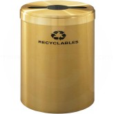 "Glaro M2042BE RecyclePro Single Unit Recycling Container with Multi-Purpose Opening - 41 Gallon Capacity - 20"" Dia. x 30"" H - Satin Brass"