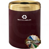 "Glaro M2042BYBE RecyclePro Single Unit Recycling Container with Multi-Purpose Opening - 41 Gallon Capacity - 20"" Dia. x 30"" H - Burgundy with Brass Enamel"