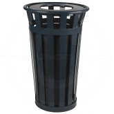 "Witt Industries M2401-FT-BK Oakley Basic Slatted Metal Waste Receptacle with Flat Top Lid - 24 Gallon Capacity - 22 1/2"" Dia. x 35"" H - Black in Color"